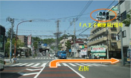 八王郵便局の信号を右に曲がります。